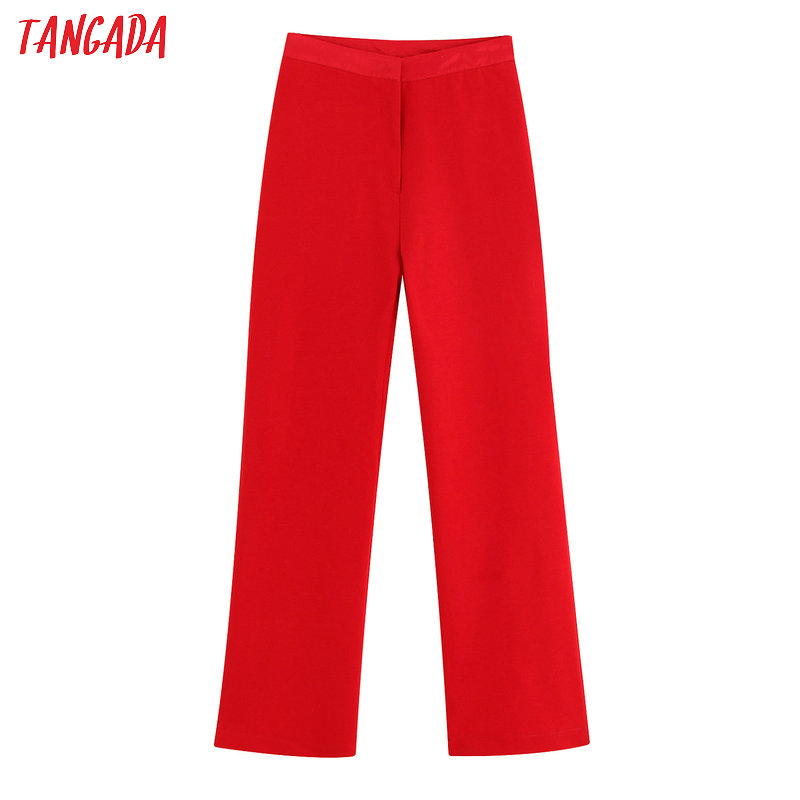 Tangada Women High Waist Red Suit Pants Elegant Office Ladies 2019 Autumn Winter Work Wear Long Pants Trousers BE12