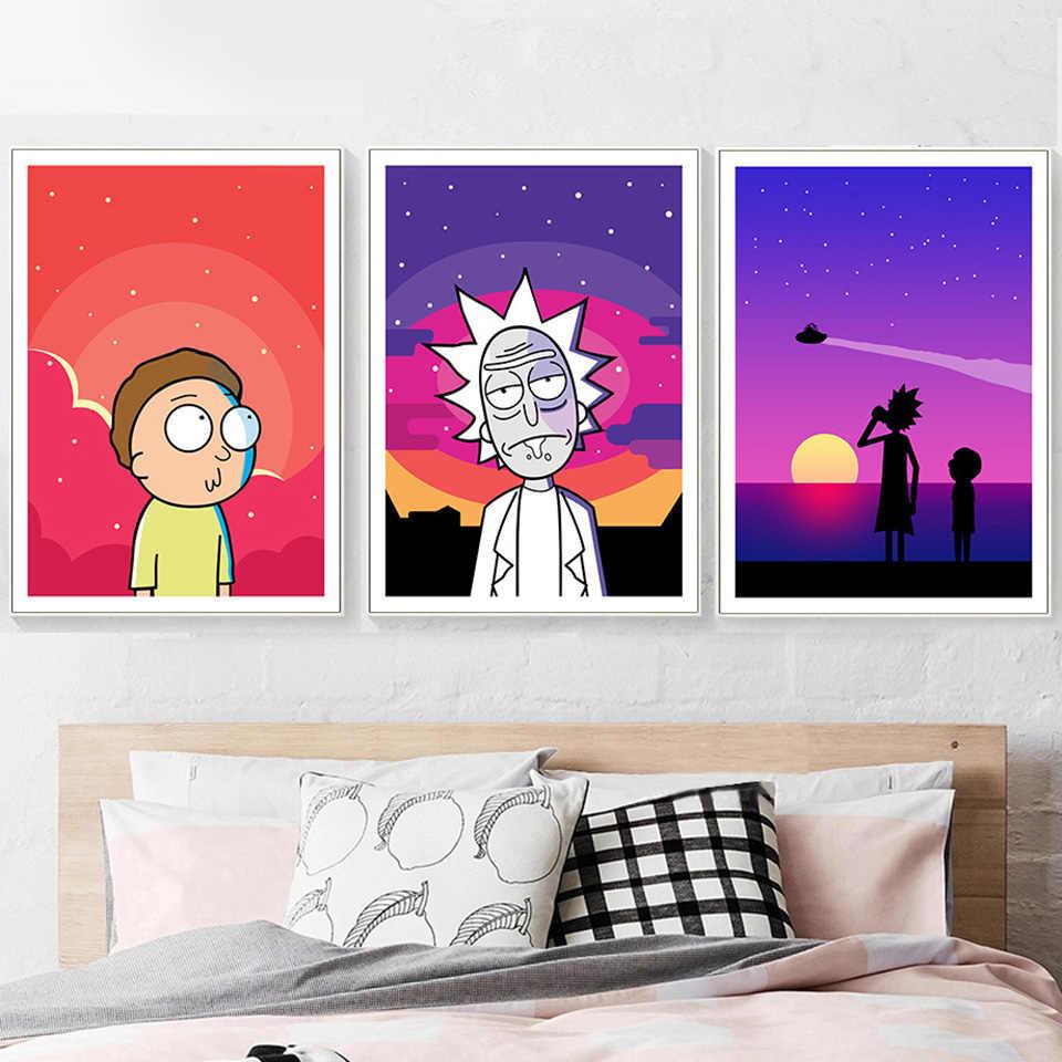 Canvas Rick and Morty Cartoon Funny Art Print Poster