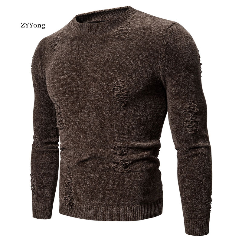 ZYYong Autumn And Winter New Men's Sweater Solid Color Round Neck Hole Hip-Hop Casual Sweater Men's Slim Brand Knitted Pullover