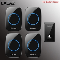 CACAZI Self powered Waterproof Wireless Doorbell 1 Transmitter 4 Receiver No Battery Required Home Door ring Bell 58 Chimes