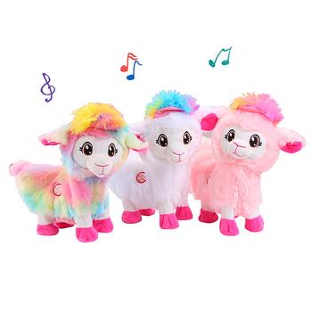 Pluszowe zabawki elektryczne Baby Alpacas Doll muzyczna zabawna zabawka zwierzęta żywe Boppi łup Shakin #8217 s lama Shake Heads taniec Singsing tanie i dobre opinie Jeriwell Don t wash Pp bawełna