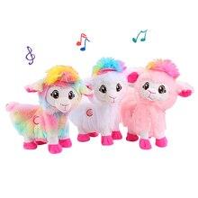 Pluszowe zabawki elektryczne Baby Alpacas Doll muzyczna zabawna zabawka zwierzęta żywe Boppi łup Shakins lama, Shake Heads taniec Singsing