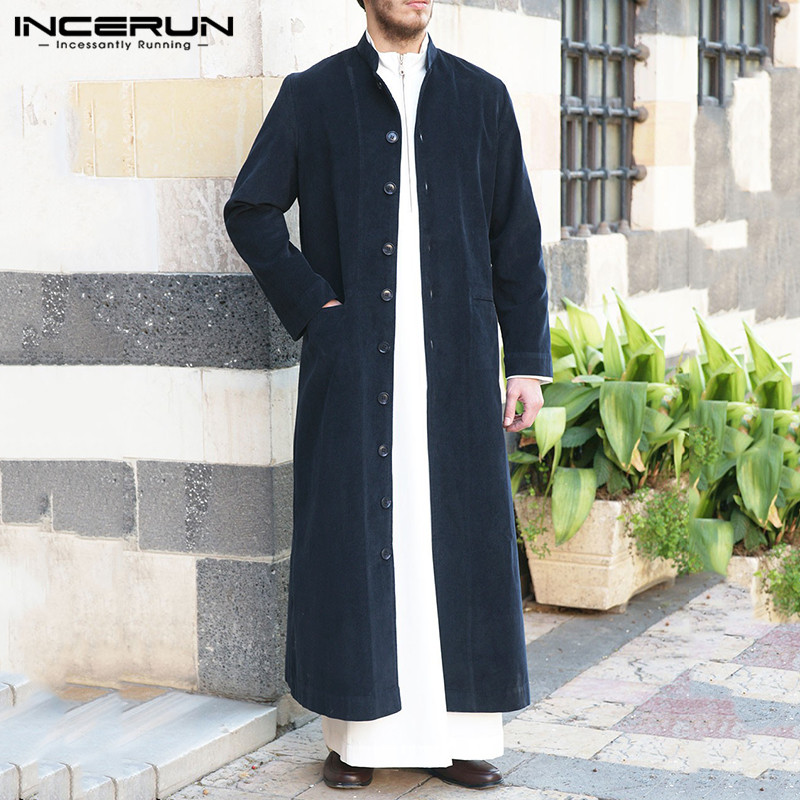 INCERUN Retro Vintage Men Long Style Coats Long Sleeve Solid Color Corduroy Trench Single Breasted Casual Thin Outerwear S-5XL