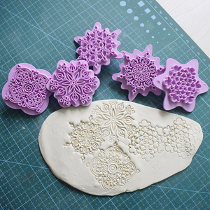Image 1 - Mandala Lace Pattern Embossing Die Plastic Stamp Polymer Clay Sculpture Texture Stamp Clay Tool 5pcs/set Mandala Dotting Tools