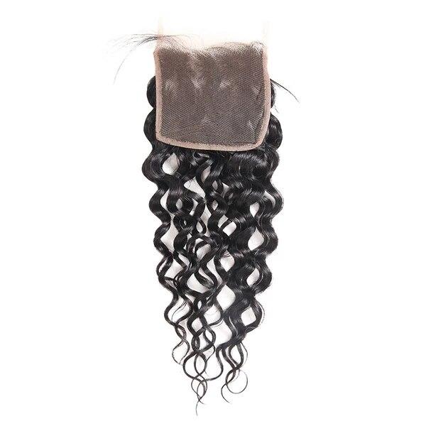 Eseewigs Water Wave Brazilian Hair 4*4 Lace Closure Human Hair Swiss Lace Toupee For Women Virgin Human Hair Swiss Lace Closure