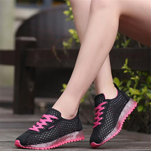 Sneakers women's hollow running women's mesh summer breathable low-top lace-up mesh shoes solid women's shoes sneakers women lace up flatform mesh sneakers