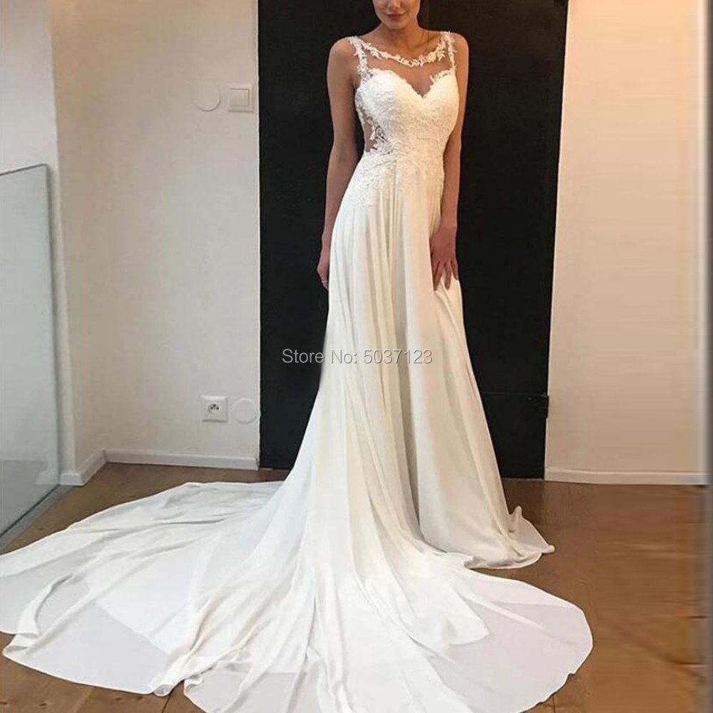 Beautiful Mermaid Jewel Neckline Flowing Chiffon Wedding Dresses With Sweep Train White Bride Dress See Through Button Back
