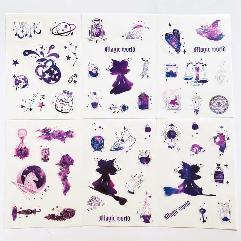6 Sheets Fantastic Purple Starry Constellation Paper Sticker Adhesive Stick Label Hand Account Decoration