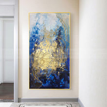 Canvas Wall art blue painting gold line abstract painting for living room home decor handmade blue acrylic gold texture artwork
