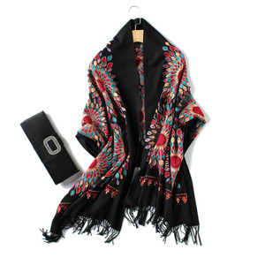 Image 5 - 2020 winter scarf for women vintage Embroidery thick warm cashmere scarves shawls and wraps pashmina ladies bandana echarpe