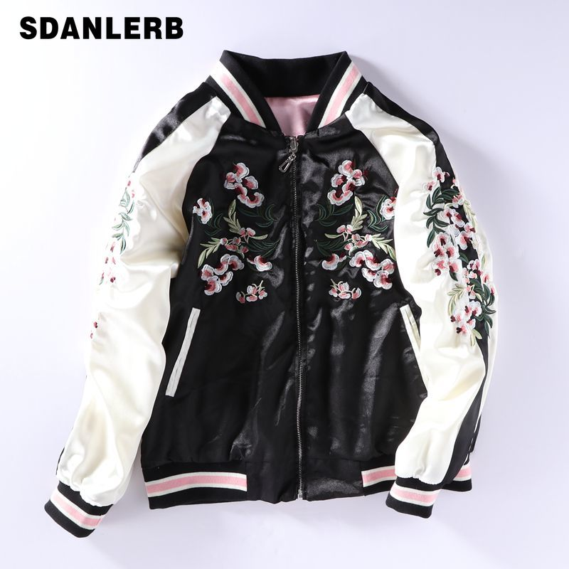 Short Jacket Cherry Pollen Embroidery Baseball Coat Women / Men Two-sided Yokosuka Bf Long Sleeved Jackets Student Spring Autumn image