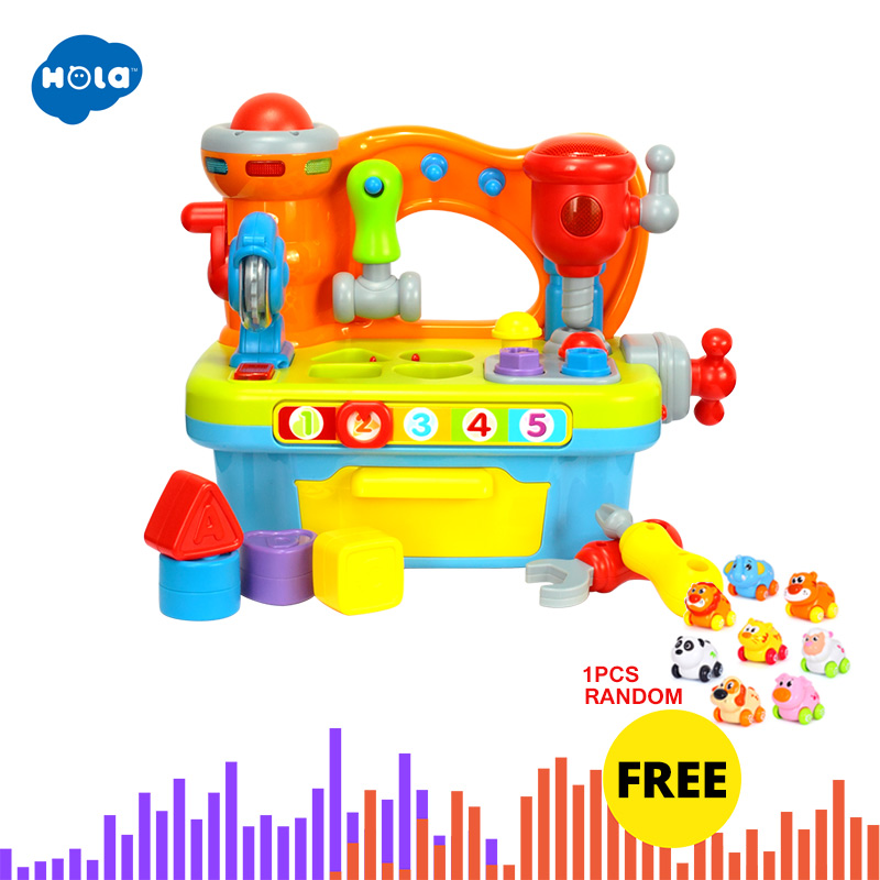HOLA 907 Baby Toys Kids Workbench Pretend Play Tool Set Electric Toy with Music & Light & Blocks Toys for Children Boys Girls Игрушка