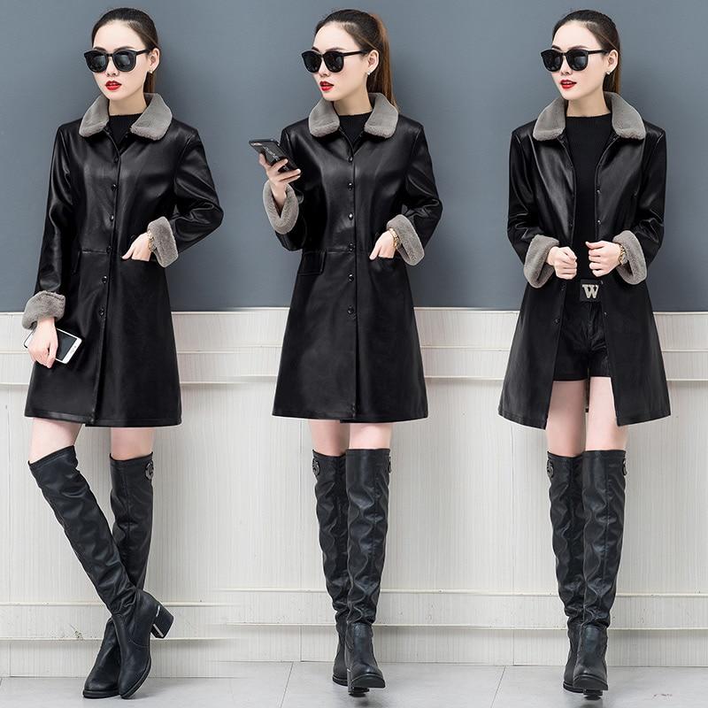 Autumn Winter Warm Faux Fur Coat Women Leather Jacket Ladies Slim long Trent coat Plush Casual Outerwear L 5XL Pu leather coat in Leather Jackets from Women 39 s Clothing