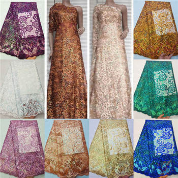 Tulle lace fabric sequins embroidered African net lace fabric wholesale 2020 high quality for Nigeria wedding ! HL31403
