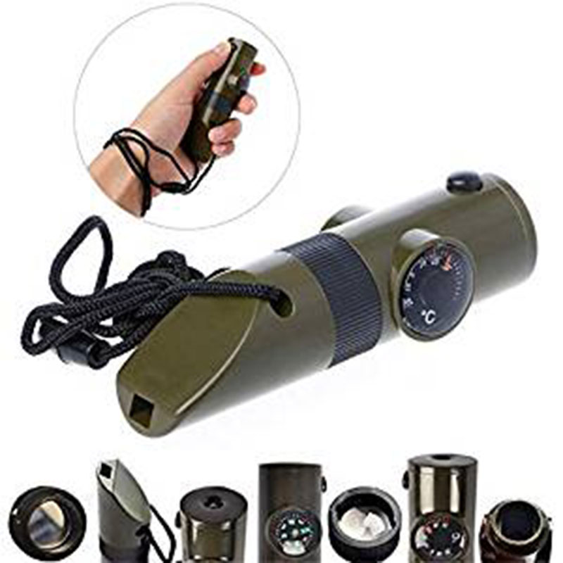 Multifunctional 7 In 1 Whistle With Compass Magnifier LED Flashlight Thermometer For Emergency Survival Traveling Backpacking