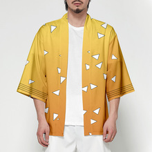 2019 New Japanese Kimono Cardigan Men Traditional Yukata Anime Ghost Blade Print Long Clothes Jacket
