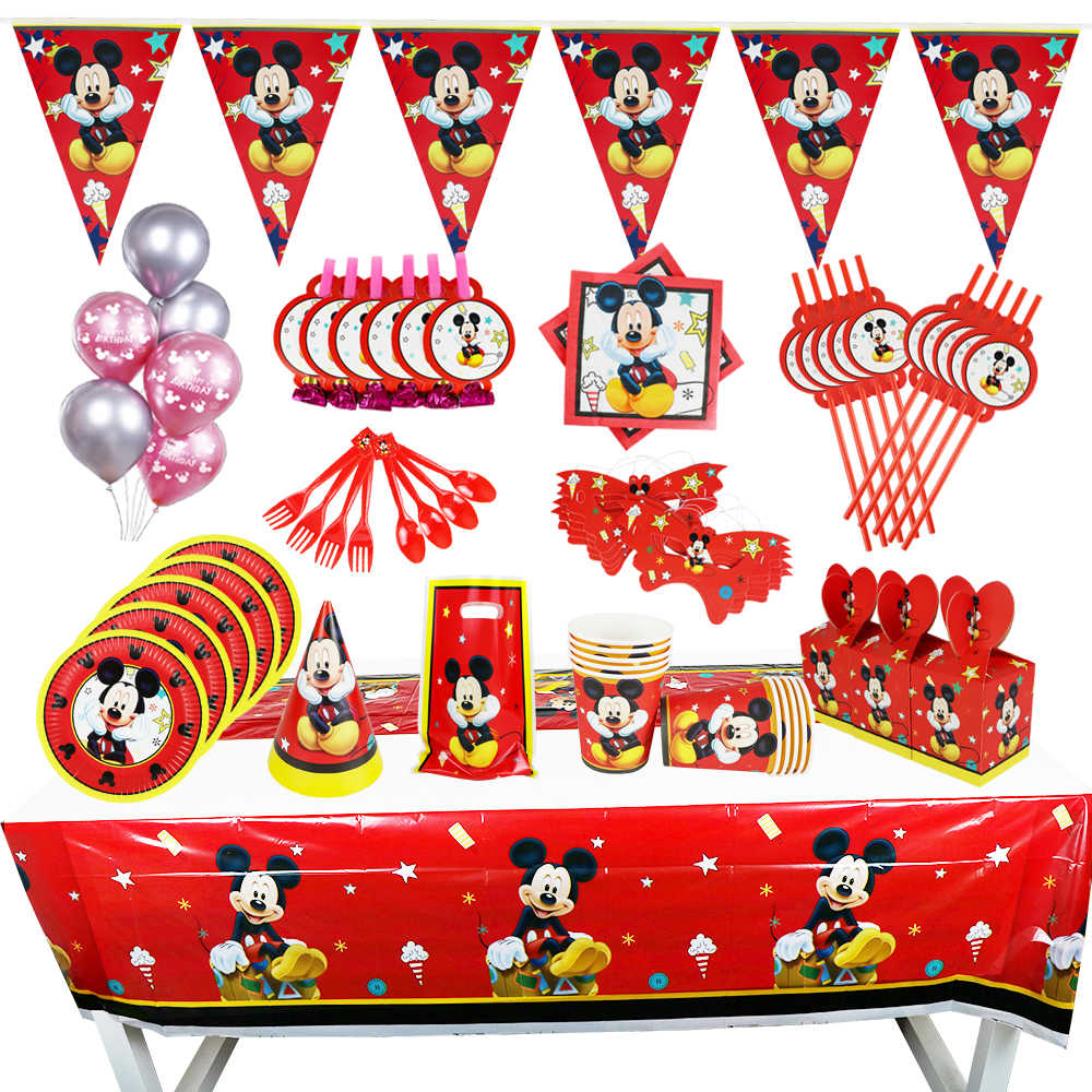 New Disney Mickey Mouse Kids Birthday Party Decorations Bag Balloon Paper Cups Plate Baby Shower Disposable Tableware Supplies