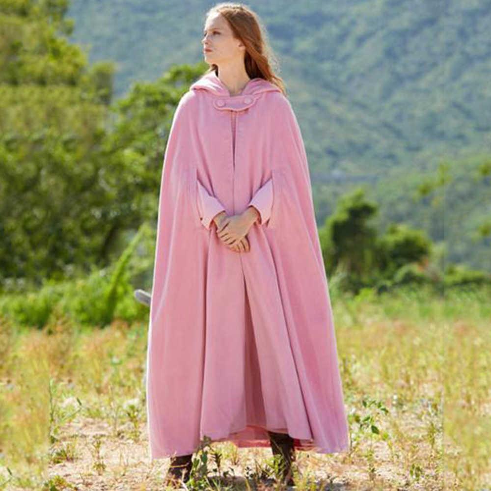ผู้หญิงขนสัตว์ Cape Coat ฤดูหนาวความอบอุ่น Gothic ลำลองสีเทาสีฟ้าแฟชั่น Cloak Outerwear หญิงหลวมเสื้อกันหนาวหมวก