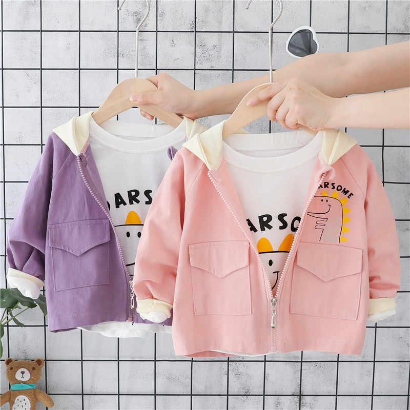 Otoño amarillo bebé niño abrigo púrpura Rosa niño niña abrigos recién nacido dibujos animados con capucha prendas de abrigo niños cremallera Cardigan chaquetas Casuales