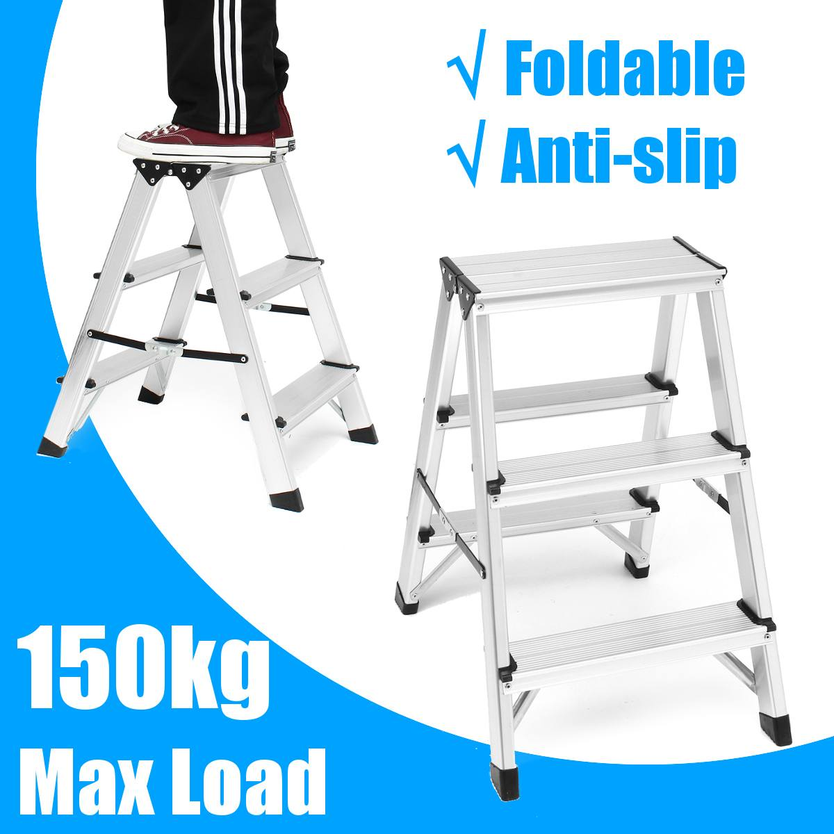 Industrial Duty Folding Ladder Anti Slip Safety 3 tep Ladder Big Step Stools Semi-insulating Construction Tool Double Sided
