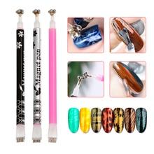 1Pc Double Head Cat Eye Magnet Stick Pen For UV Gel Polish 3D Line Strip Flower Effect Magical Board Manicure Nail Art Tools