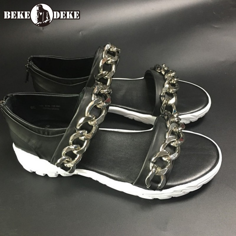 Fashion Beach Sandals Men Rome Style Gladiator Sandals Summer Shoes 100% Real Leather Cowhide Chain Flat Sandals Plus Size 45