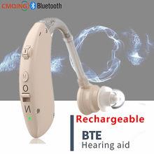 BTE Adjustable Bluetooth Hearing Aid Audiphone Sound Amplifier Deaf Old Man Elderly Listen Music Calls Watching TV Chat