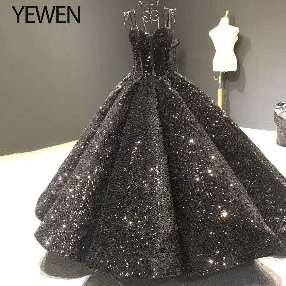 Luxury Black Sequined Wedding Dress 2019 Sleeveless Plus Size Wedding Dresses Bridal Ball Gown Vestido De Novia YeWen YW19060