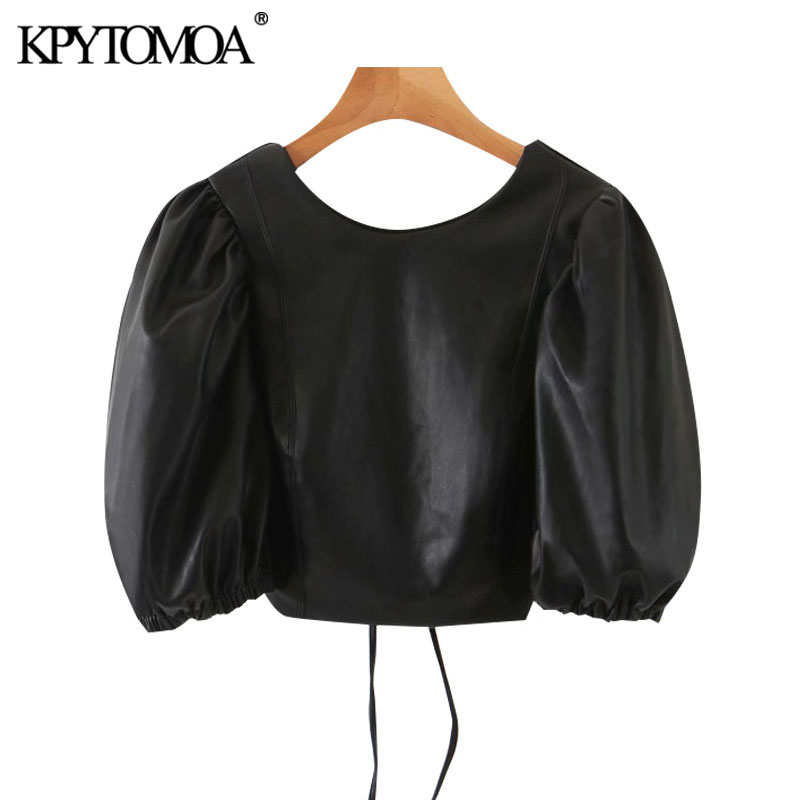 KPYTOMOA Women 2020 Sexy Fashion Faux Leather Puff Sleeve Cropped Blouses Vitnage Backless Drawstring Female Shirts Chic Tops
