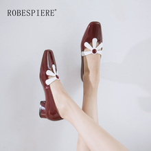 ROBESPIERE Top Quality Genuine Leather Shoes Woman Square Toe Casual Dress Shallow Pumps Fashion Fretwork Design Women A26