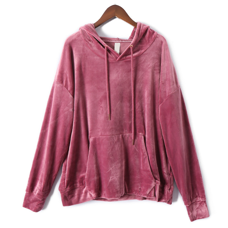 Women Velour Solid Warm Hoodies 2019 Winter Loose Comfort Female Fashion Hooded Sweatshirt Plus Size Pullover Harajuku Pink Tops
