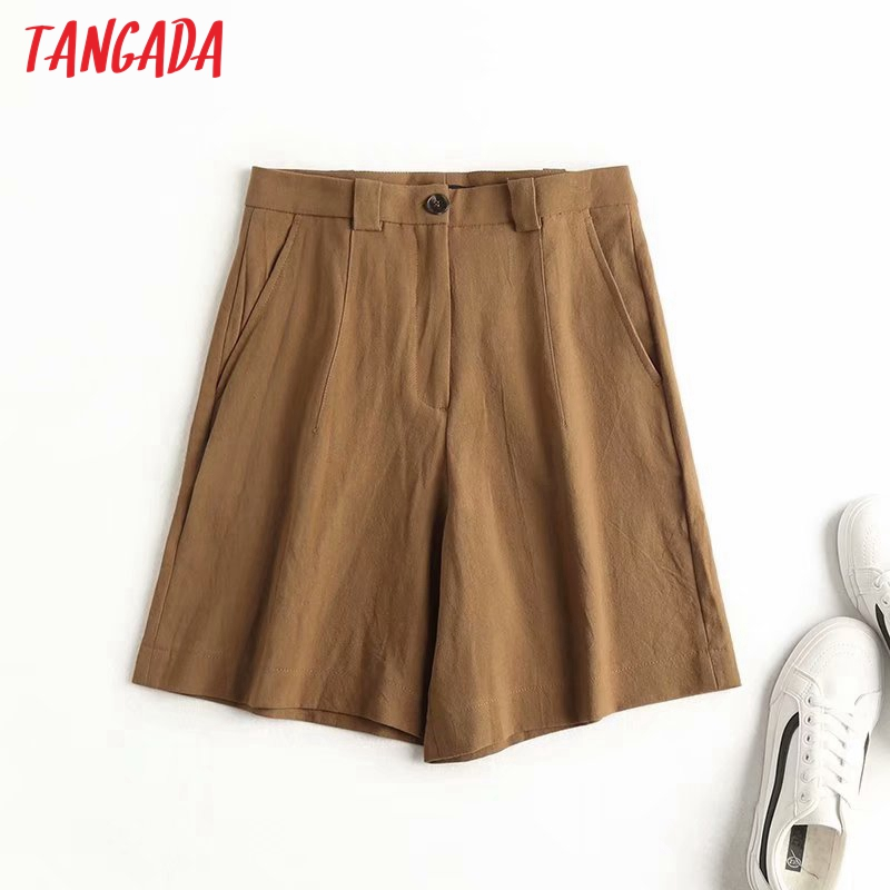 Tangada Women Elegant Linen Shorts Solid Pockets Female Retro Office Lady Shorts Pantalones High Quality 4C11