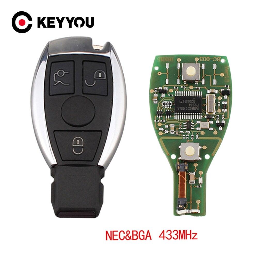 KEYYOU 433MHZ uzaktan araba anahtarlık durumda 3 düğmeler uzaktan araba anahtarı kılıflı anahtar Mercedes Benz için yıl 2000 + NEC ve BGA kontrol