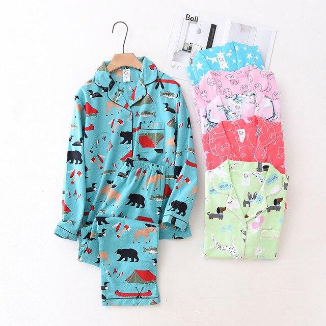 100% Cotton Pyjamas Women Pajamas Sets Autumn Brushed Winter Warm Cute Cartoon Sleepwear Pijamas Mujer Pyjamas Womens Clothing