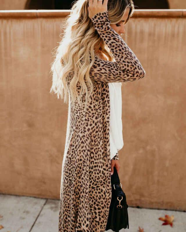 Wanita Kasual Cardigan Leopard Kamuflase Cetak Musim Semi Musim Gugur Longgar Jahitan Terbuka Blus Lengan Panjang Tipis Panjang Tipis Lebih Tahan Dr Tops