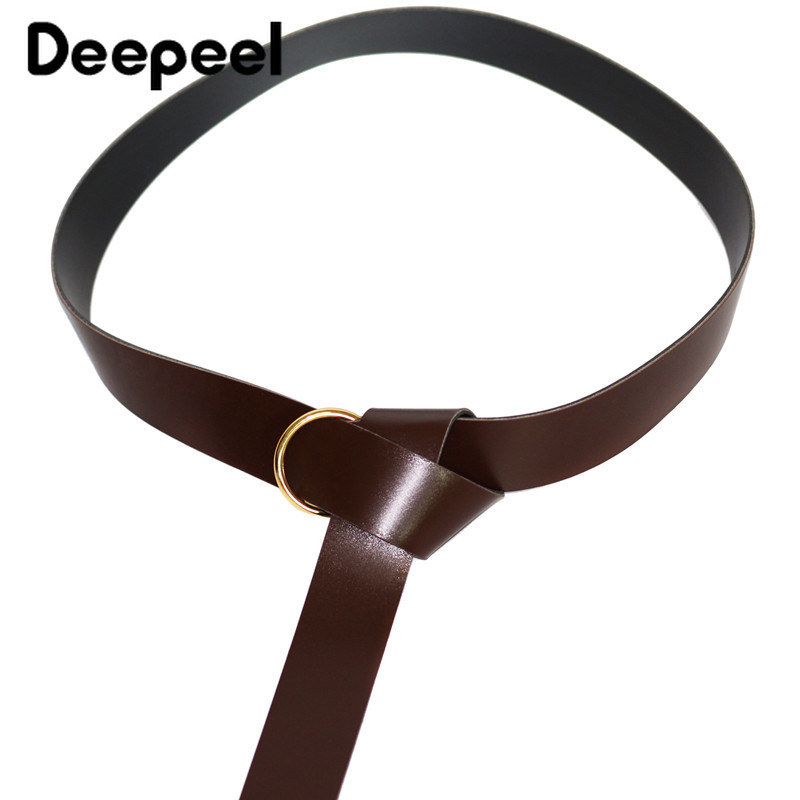 Deepeel 1pc 3.8cm*183cm Women PU Retro Leisure Wide Cummerbund Metal Round Buckle Black Knotted Belt Apparel Accessories YK771