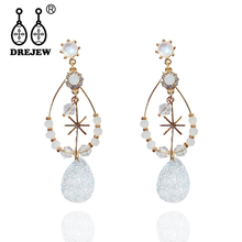 DREJEW Big Rhinestone Crystal Water Drop Statement Earrings 2019 Round Circle Pearl 925 Drop Earrings for Women Jewelry HE4801 pair of stylish faux crystal pearl water drop earrings for women