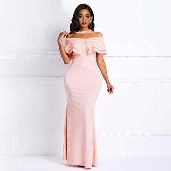 Pink Off The Shoulder Short Sleeves Elegant Evening Dress Mermaid High Waist Zipper Party Formal Women Evening Dresses pink off the shoulder bat sleeves mini dress
