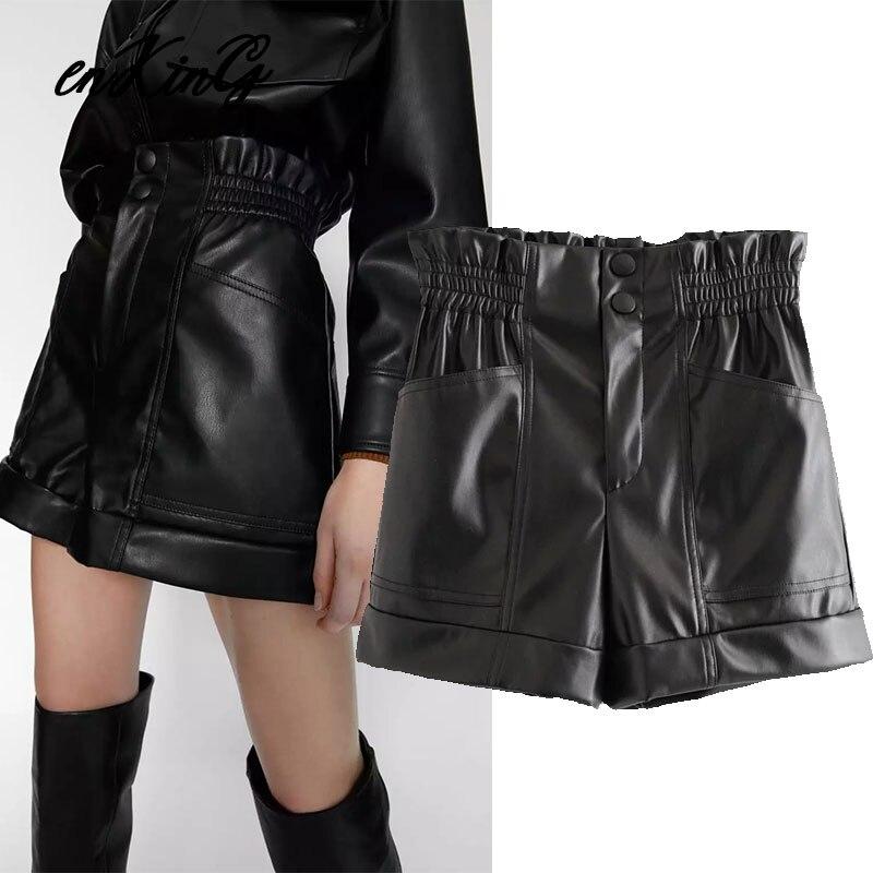2020 Spring England High Street Vintage High Waist Leather PU Sexy Harem Momshorts Women Short Feminino Women Short