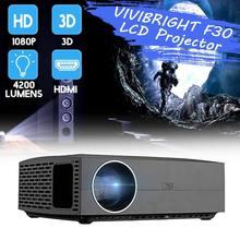 Nowy VIVIBRIGHT F30 4K projektor HD LCD 1080P 3D EU FHD przenośny Mini projektor 4200 lumenów 1920x1080P kino domowe tanie tanio Korekcja ręczna CN (pochodzenie) NONE Projektor cyfrowy 4 3 16 9 1920x1080 dpi 50-300 cali 15000 1 projektor do filmów