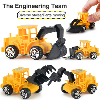 6pcs/set Diecast Mini Alloy Construction Vehicle Engineering Car Dump-car Dump Truck Model Classic Toy Mini Gift for Boy image