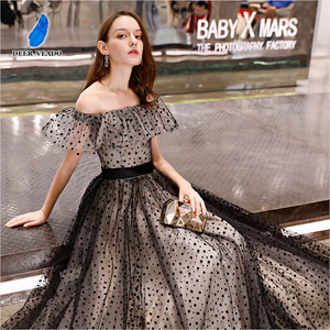 Image 1 - DEERVEADO prawdziwe zdjęcia linia Boat Neck elegancka, długa suknia Vintage formalne sukienek suknia wieczorowa Robe De Soiree YS434