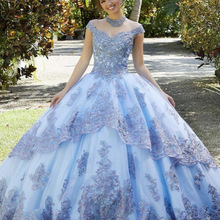 Licht Blau Prinzessin Quinceanera Kleid 2021 Ball Off Schulter Appliques Pailletten Backless Süße 16 Kleid Vestidos De 15 Años