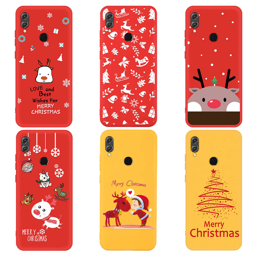 Christmas Santa Claus Gift Case For Huawei P20 P30 Lite X-mas Tree Elk Soft Red Silicone Cover For Huawei Honor 9X 8X 10 20 Lite