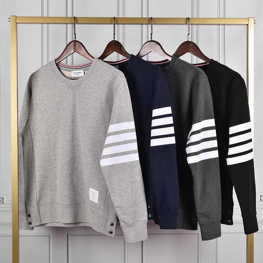 2020 moda tb thom marca outono inverno hoodies roupas jaqueta de algodão das mulheres dos homens sweatshirts o pescoço fino casual casaco de desporto