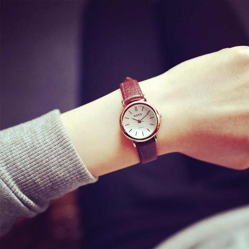 Fashion Casual Women Small Watches Vintage Leather Ladies Quartz Wristwatches Simple Female Brown Watch Clock  Relogio Feminino