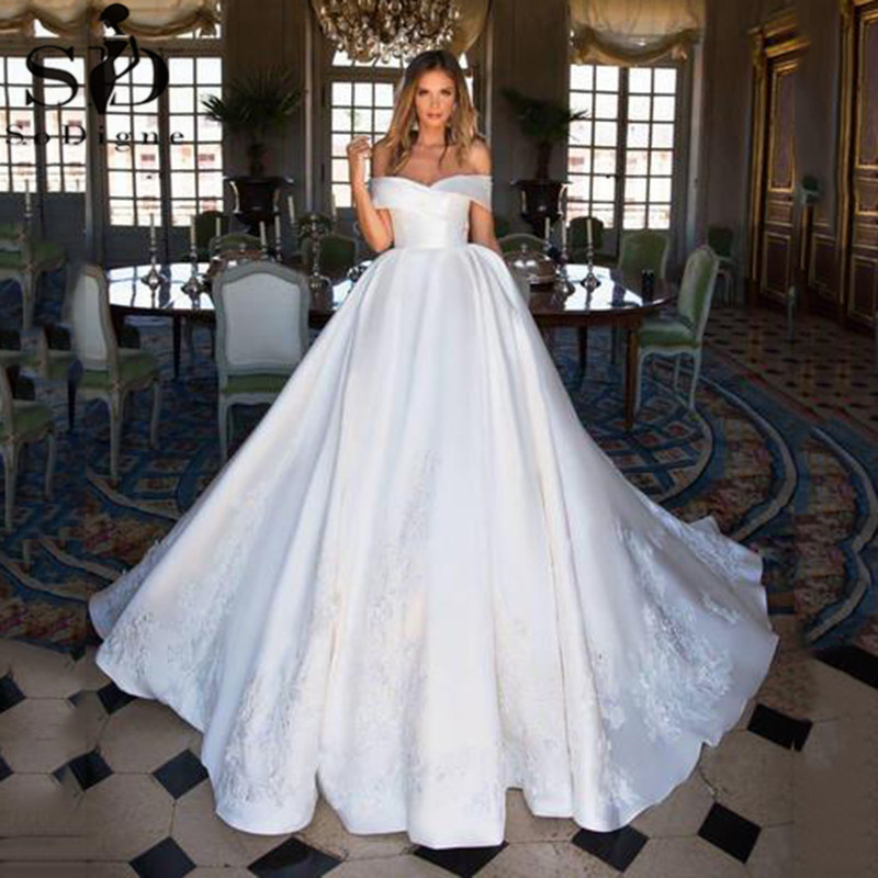 SoDigne Satin Ball Gown 2021 Simple Off The Shoulder Boho Lace Bridal...