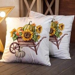 Na zamek błyskawiczny poszewka na poduszkę 18X18 Cal 4 sztuka poduszka biwakowa akwarela dynia taczki słonecznika święto dziękczynienia gospodarstwa zbiorów domu Sof|Poszewka na poduszkę|   -