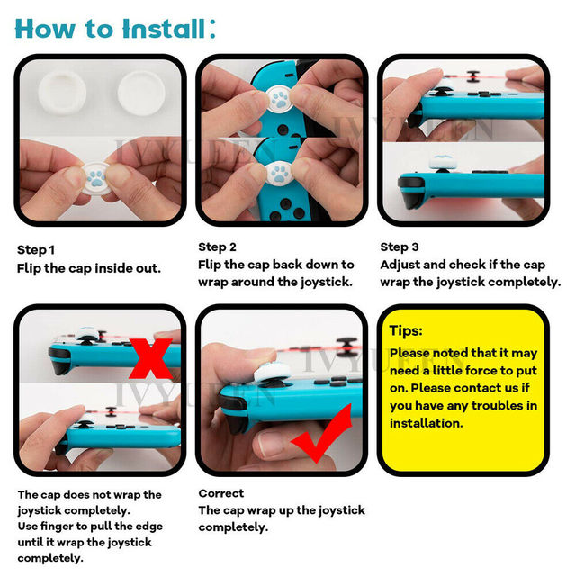 IVYUEEN 2 Pcs Silicone Caps for Nintend Switch Joy Con Paw Claw Joystick Analog Stick Thumb Grips Cover for NintendoSwitch Lite 5