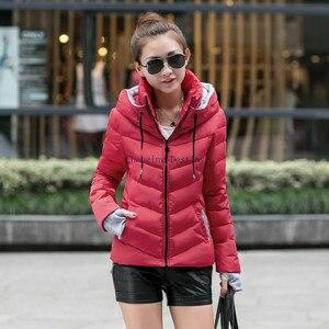 Image 5 - 2019 inverno jaqueta feminina plus size das mulheres parkas engrossar outerwear sólido casacos com capuz curto feminino fino algodão acolchoado básico topos